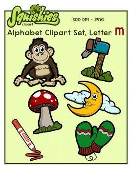 Alphabet Clip Art: Letter M Phonics Clipart Set.