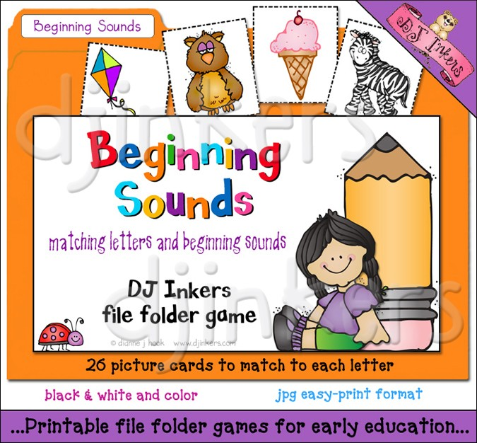 A printable file folder game to teach beginning sounds with darling.