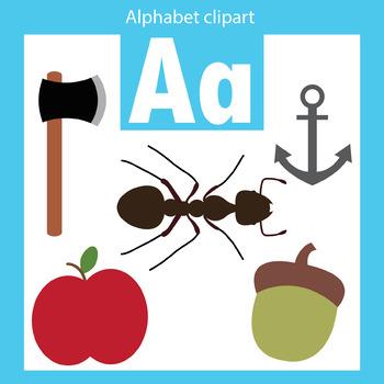 Alphabet clip art letter A Beginning sounds.