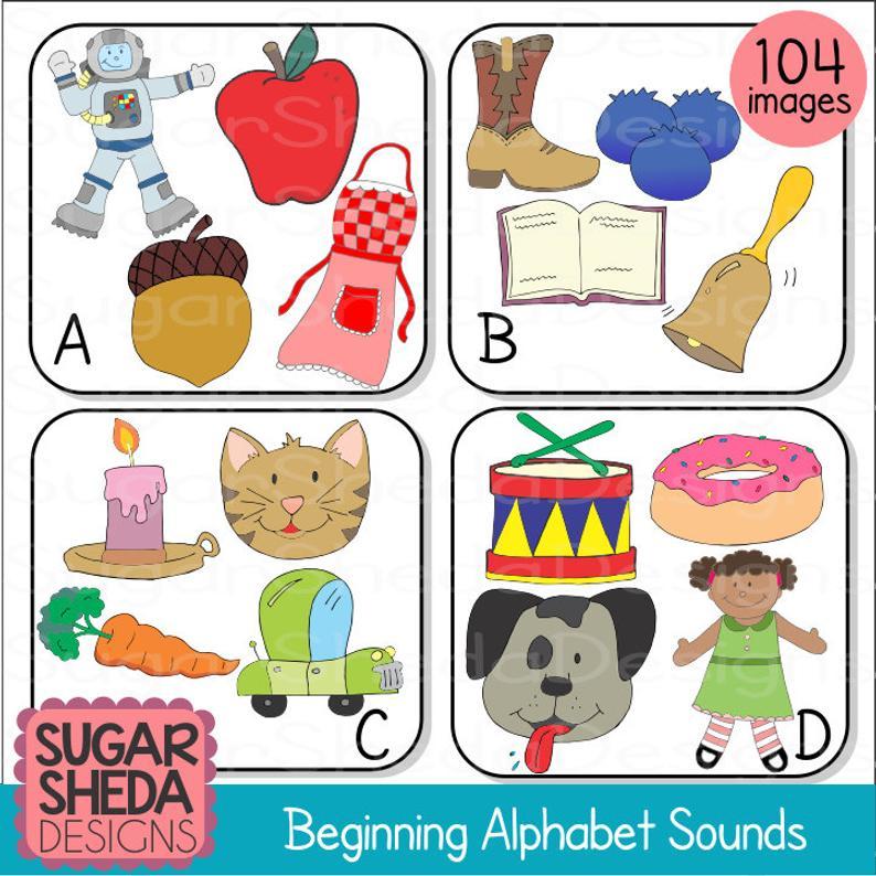 Hand Drawn Beginning Sounds Alphabet Clipart.