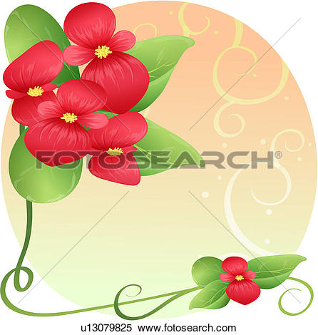 Clipart of bloom, plant, flowers, flower, plants, blossom, begonia.