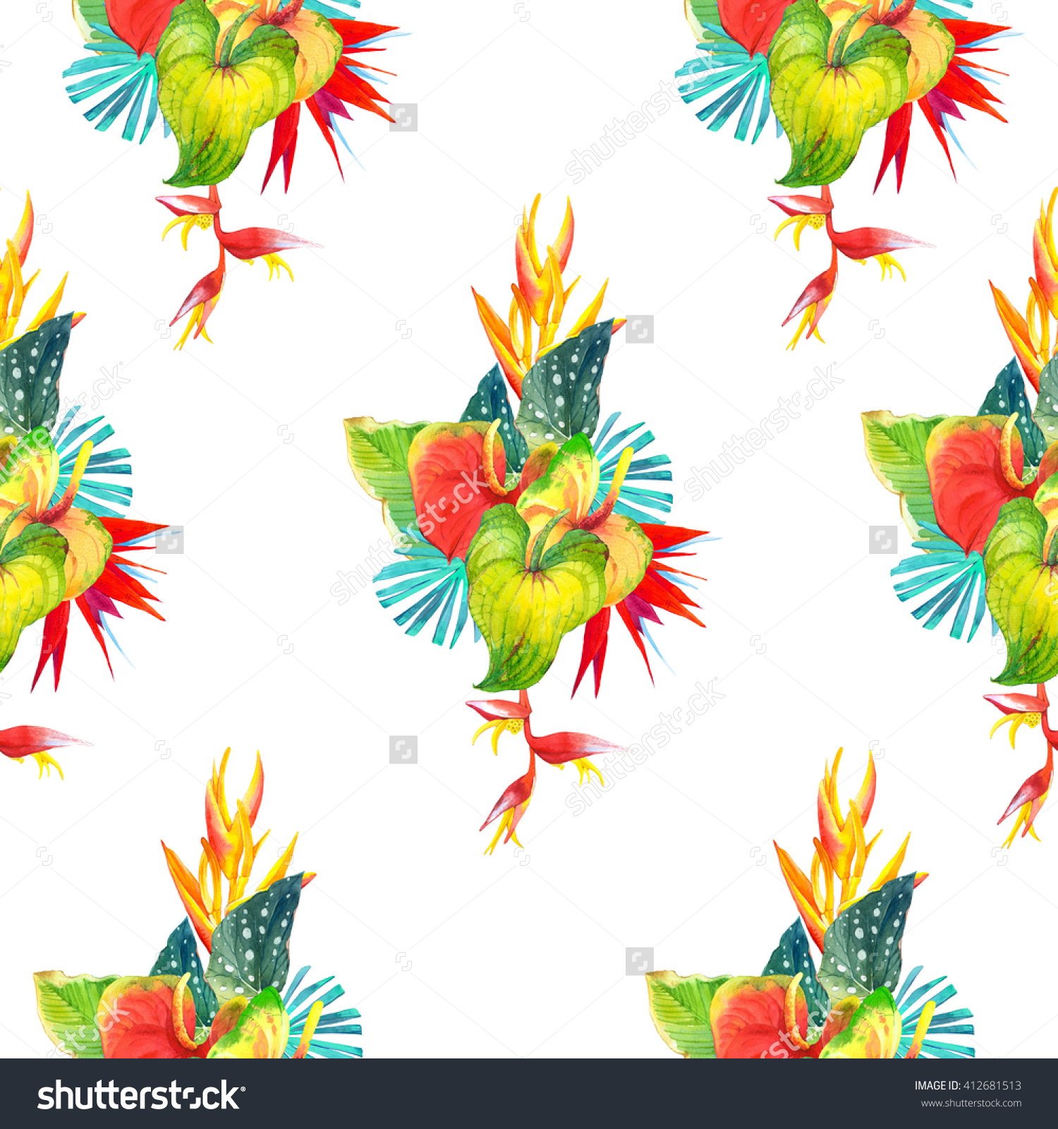 Seamless Background With Watercolor Tropical Flowers. Beautiful.