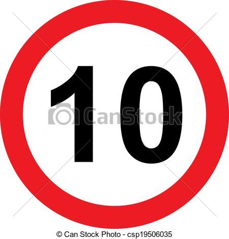 Zeichnungen von 10, Begrenzung, Geschwindigkeit, Straße, zeichen.