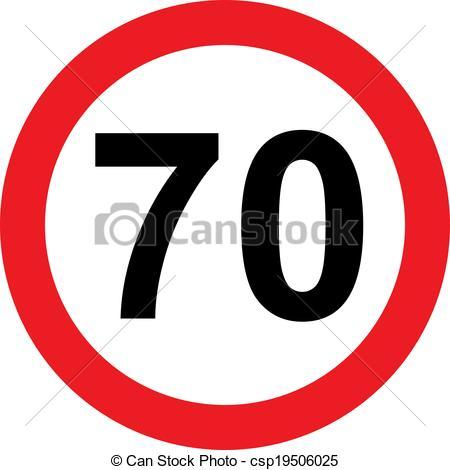 Clip Art von Begrenzung, 70, Geschwindigkeit, Straße, zeichen.