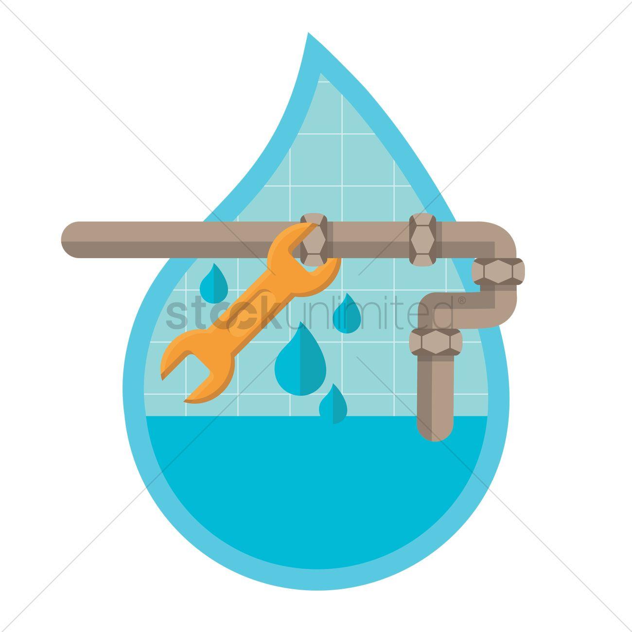 Repairing a leaking pipe Vector Image.