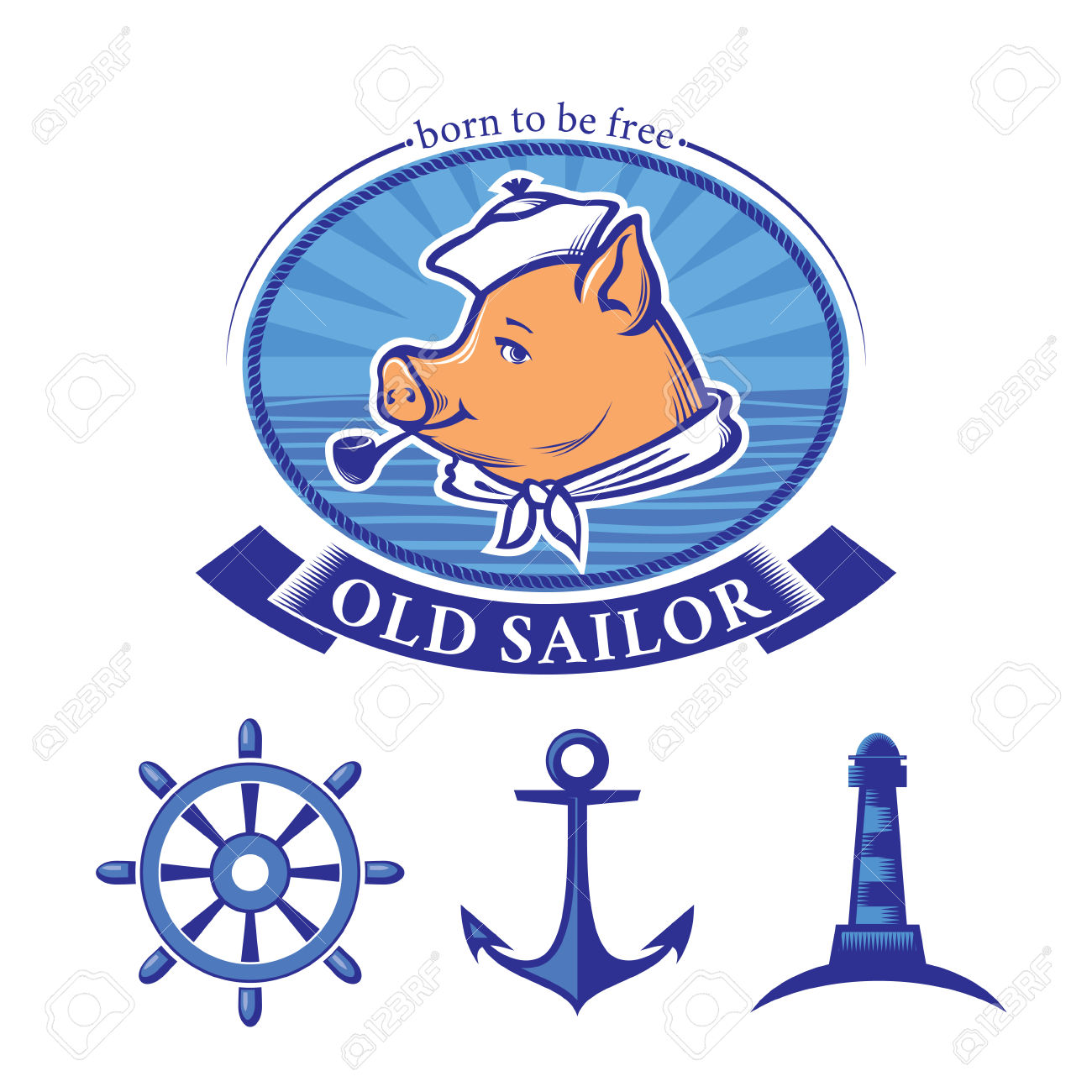 Sailor Logo Design And Set Of Vintage Nautical Icons, Piglet.