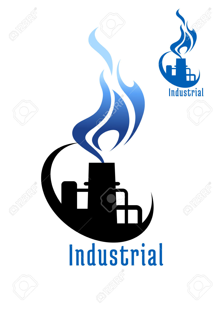 Industrial Plant Or Factory With Blue Gas Flame And Pipes For.