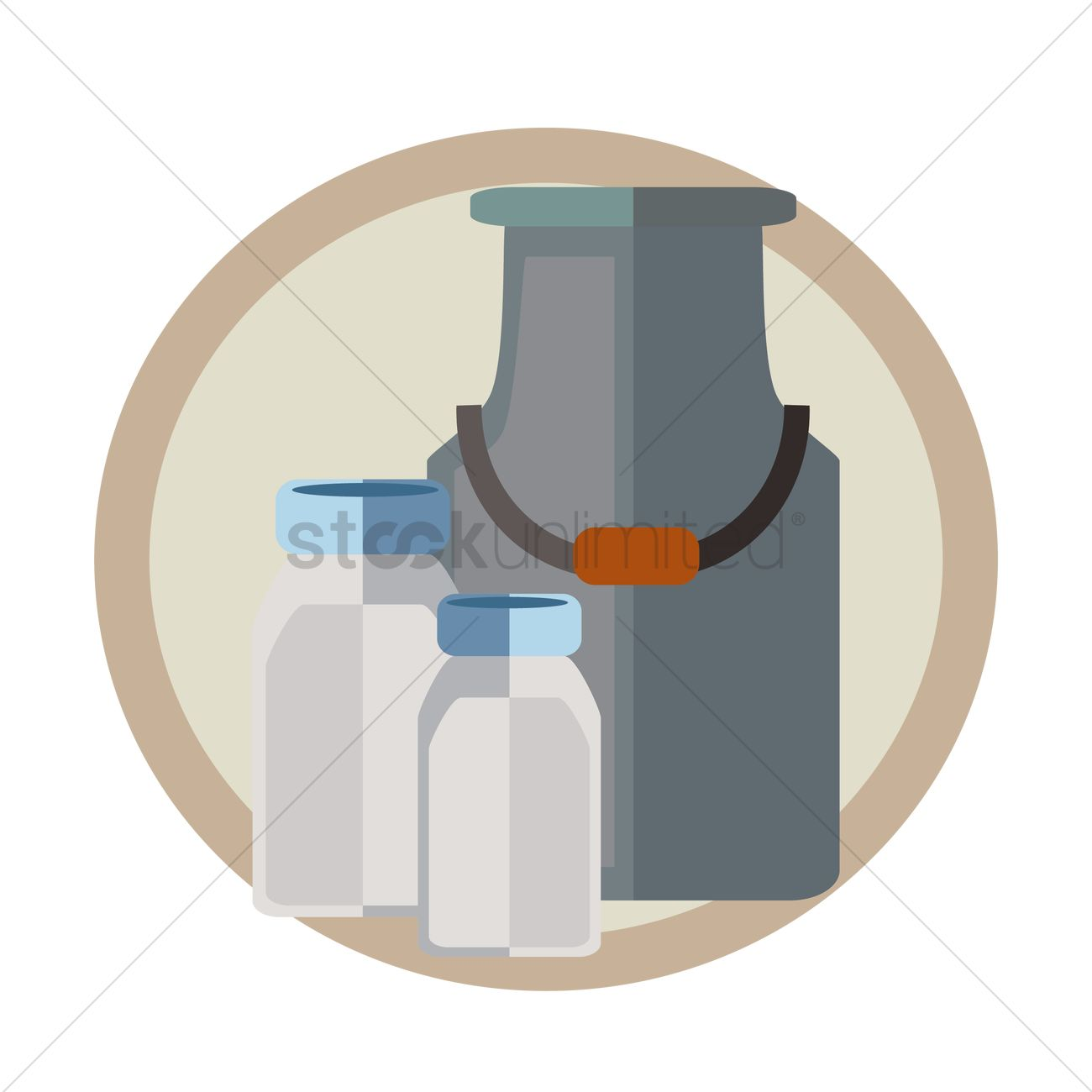 Free Milk bottles and container Vector Image.