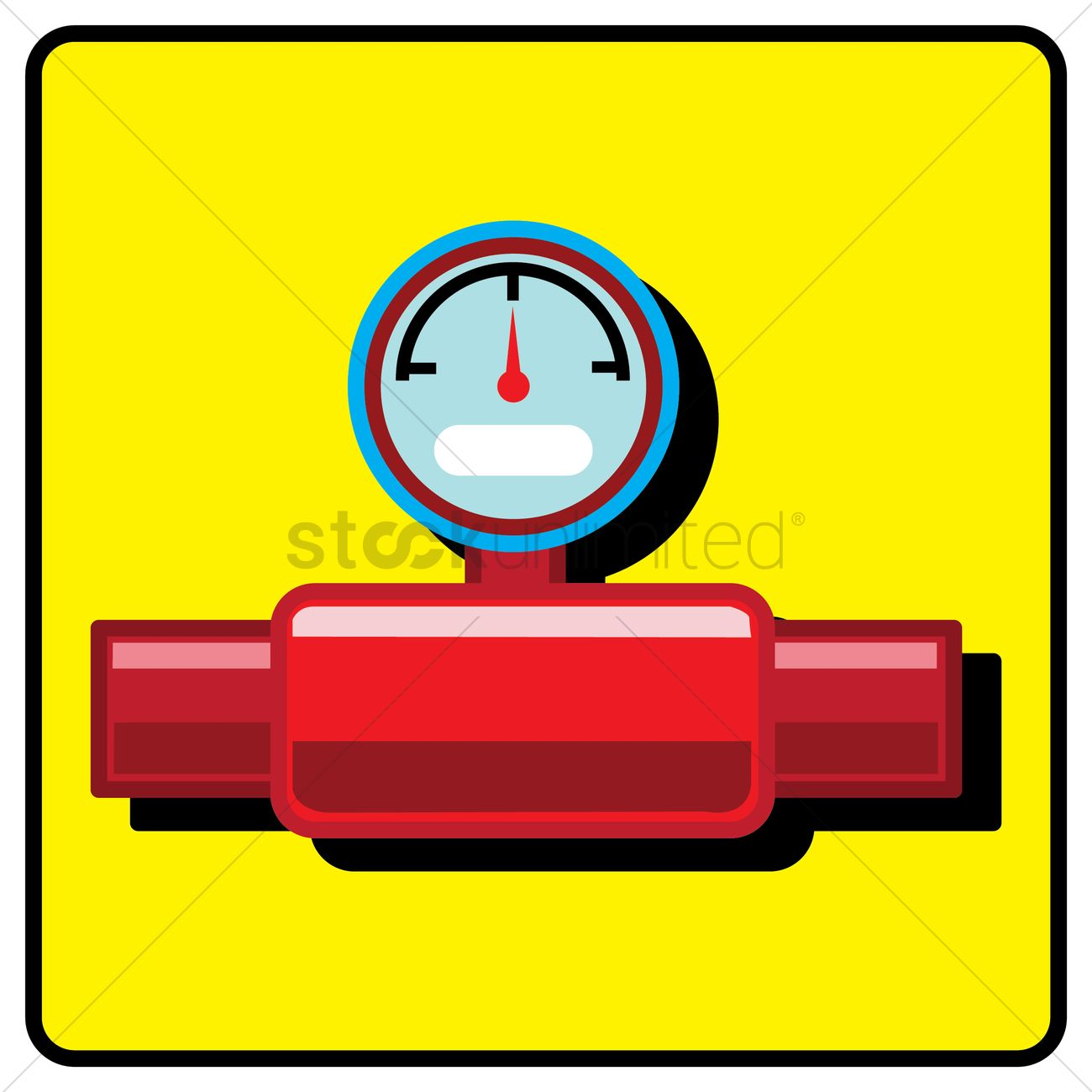 Gas pipe valve and pressure meter Vector Image.