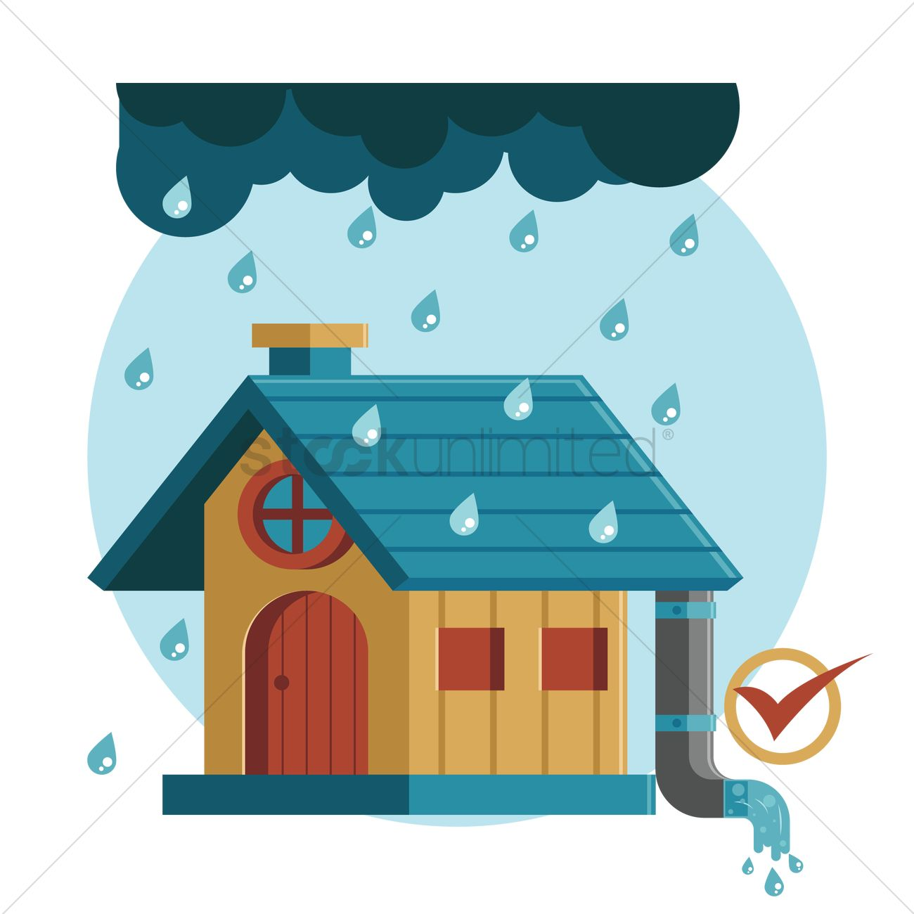 Free House with drainage system Vector Image.