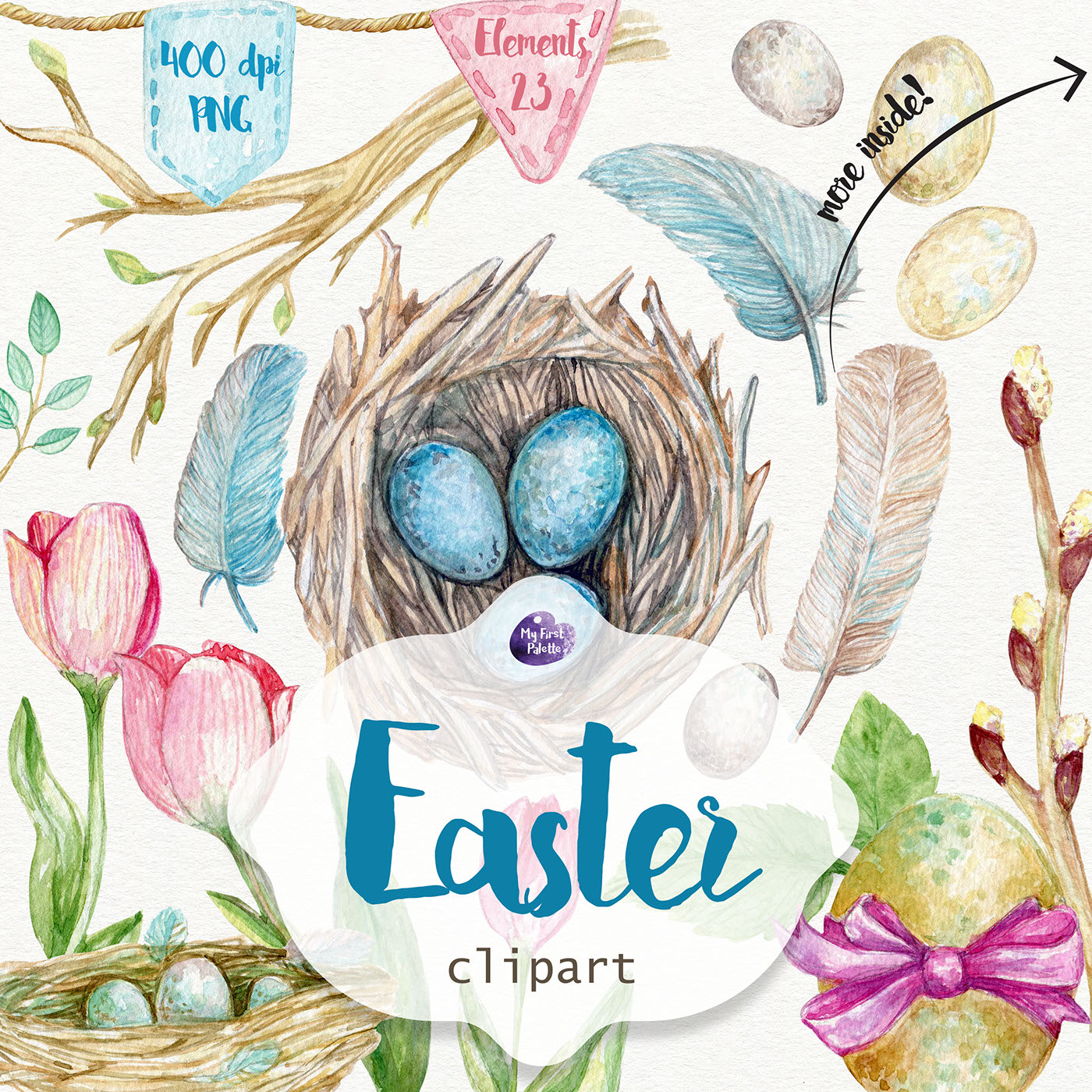 Easter watercolor clipart on Behance.