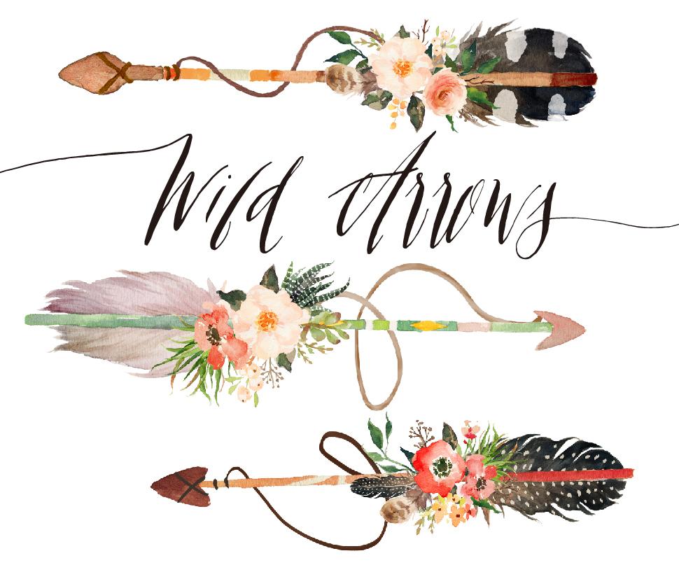 Watercolor wild arrows clip art on Behance.