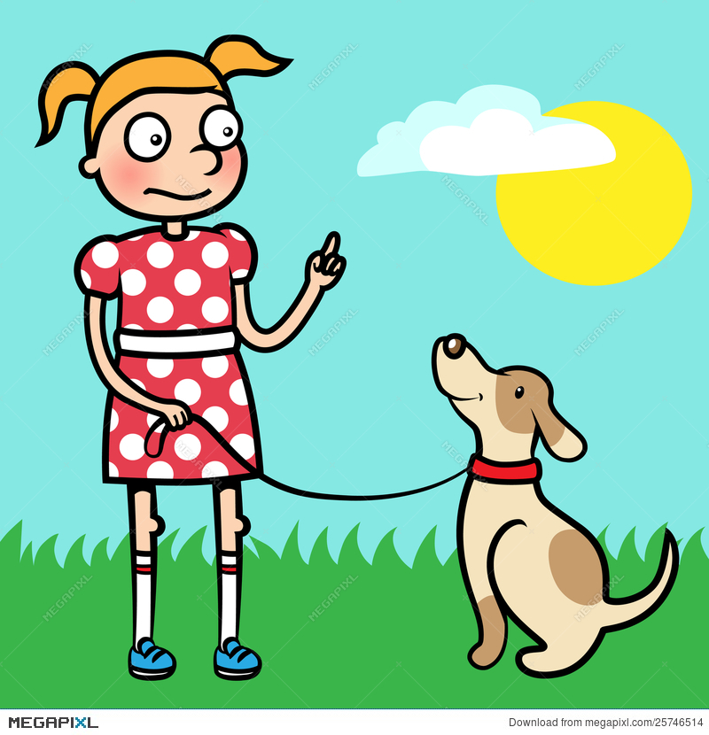 Girl Training Obedience With Well Behaved Dog Illustration.