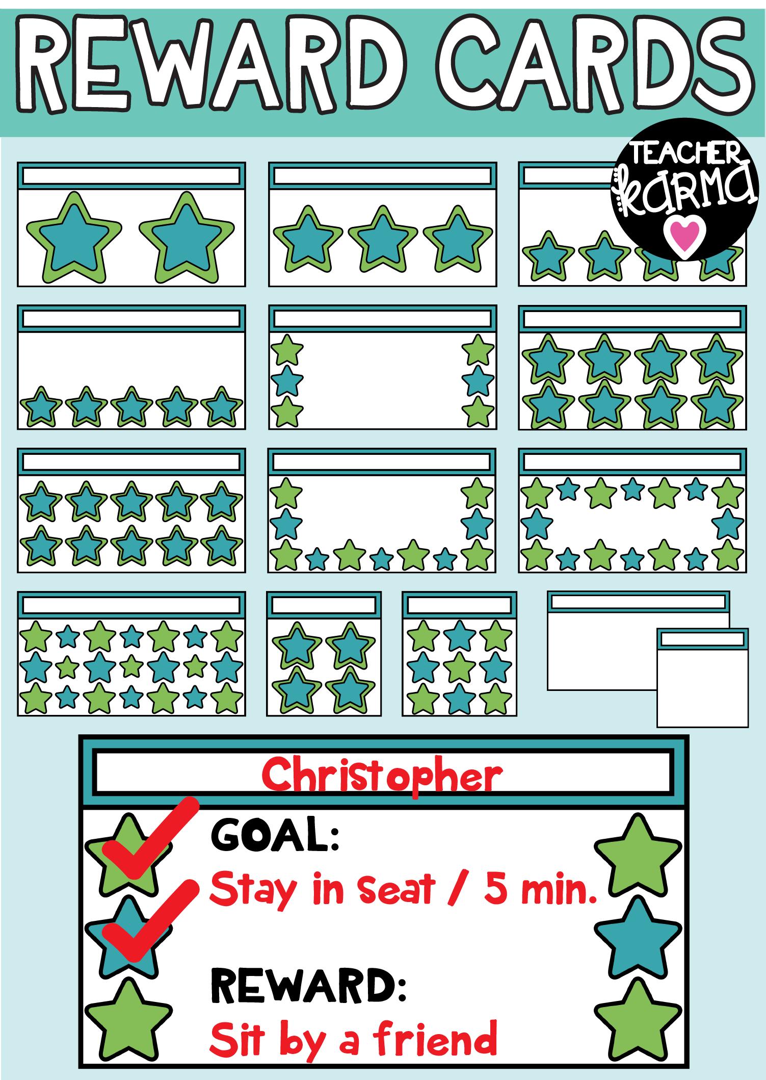 Reward Cards, Behavior Chart Clipart.
