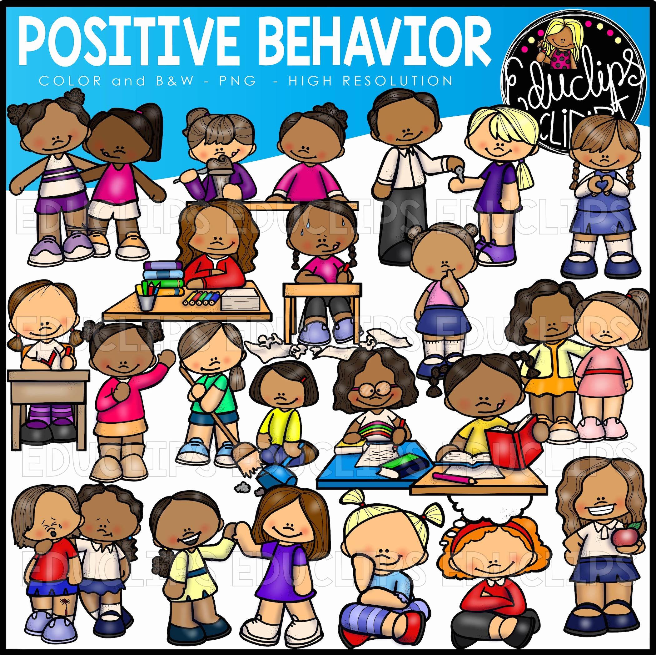 Positive & Negative Behavior Clip Art Big Bundle (Color and B&W).