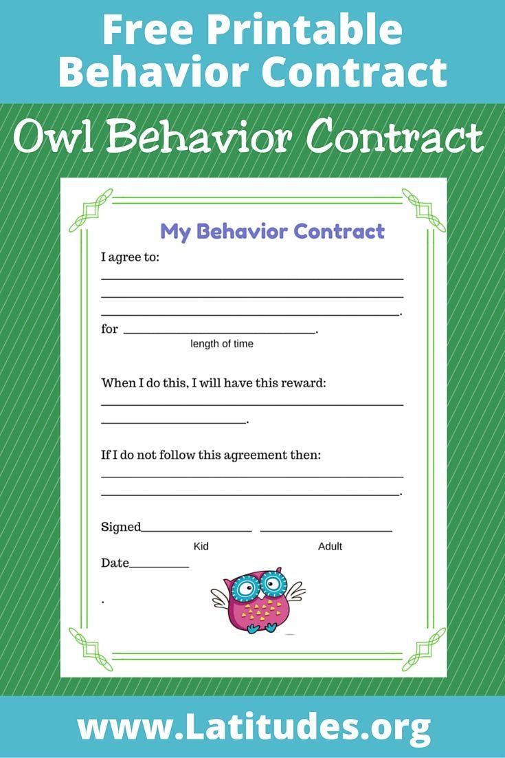 FREE Behavior Contract (Owl Style).