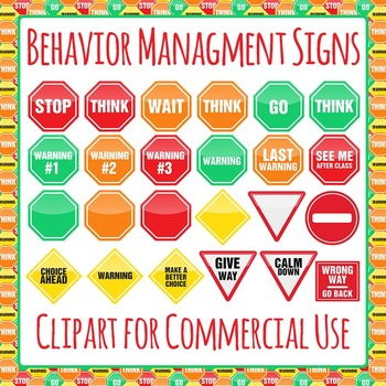 Behavior Management Signs Clip Art Pack for Commercial Use by.