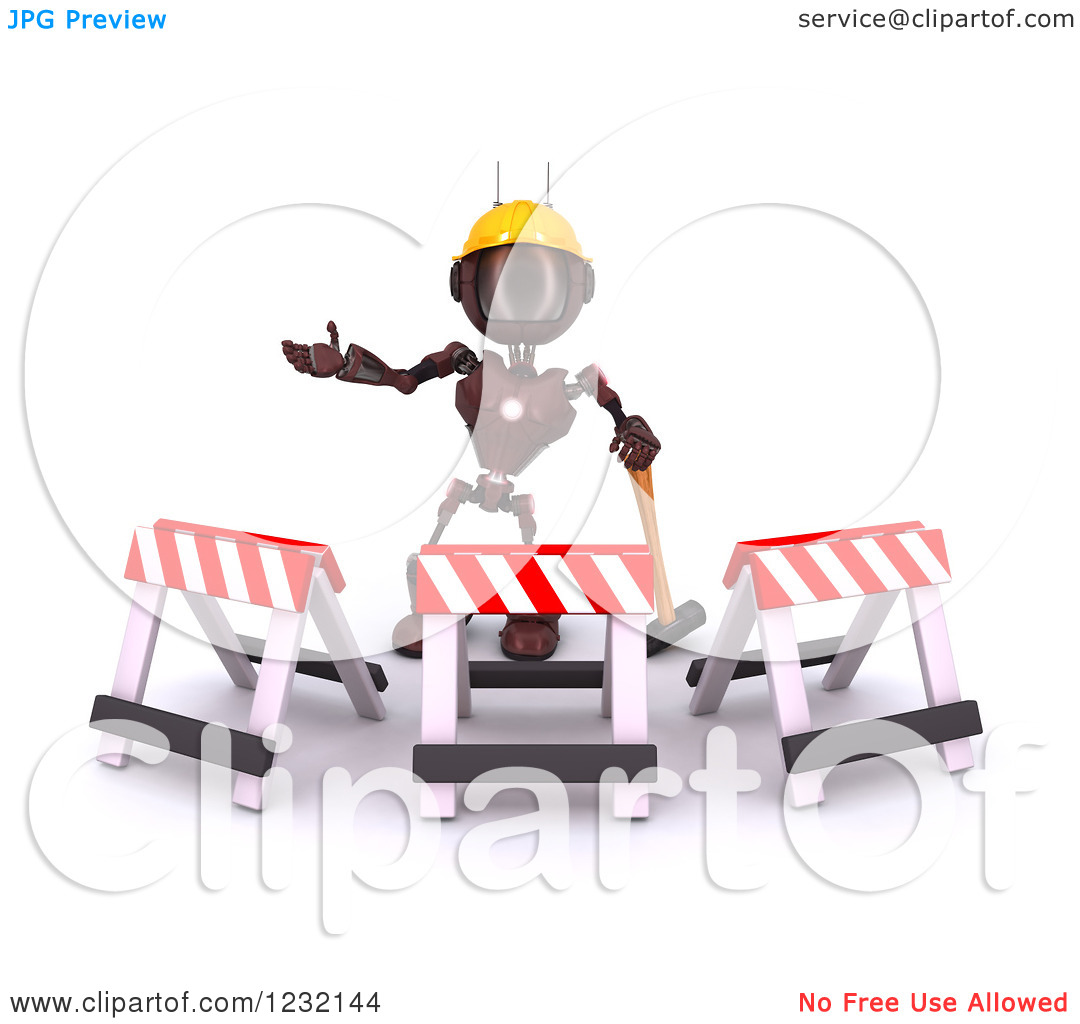 Clipart of a 3d Red Android Construction Robot Gesturing Behind.
