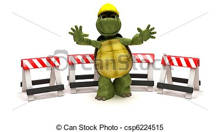 Stock Illustrations of tortoise with a hazard barriers.