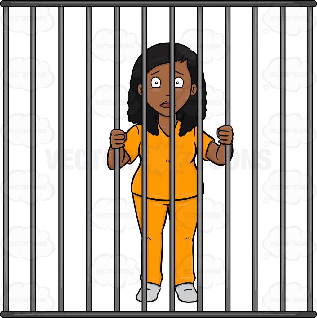 A Black Woman Behind Bars Cartoon Clipart.