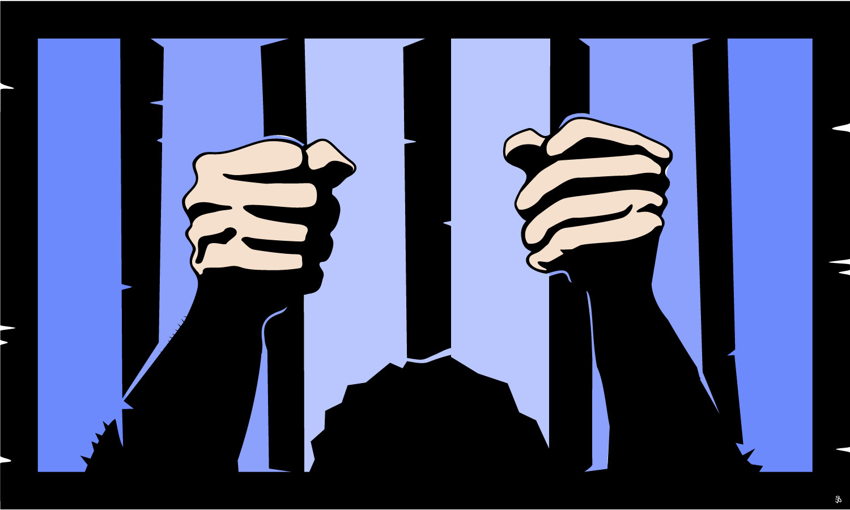 Free clipart prisoner behind bars.