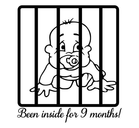 Baby behind bars, been inside for 9 months SVG PNG JPG pdf dxf digital file  download.