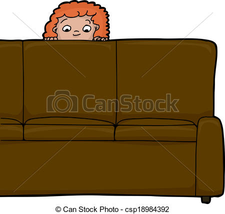 EPS Vectors of Child Behind Sofa.