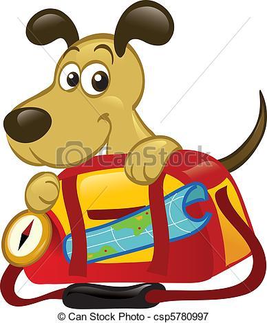 Vectors Illustration of Dog Behind A Big Traveling Bag csp5780997.