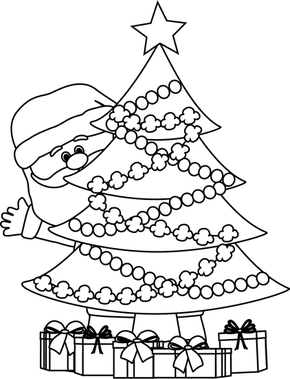 Clipart Christmas Tree Black And White.