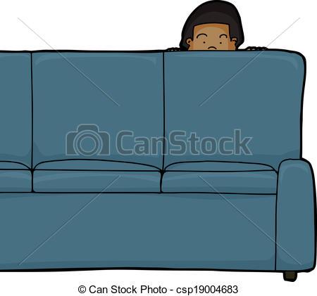 Vector of Kid Peeking from Behind Sofa.