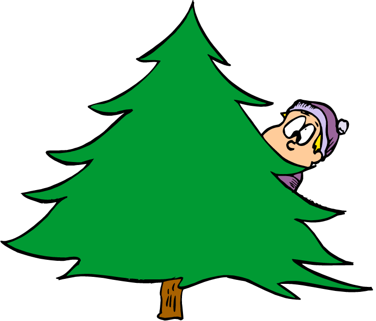 Hiding behind a tree clipart.