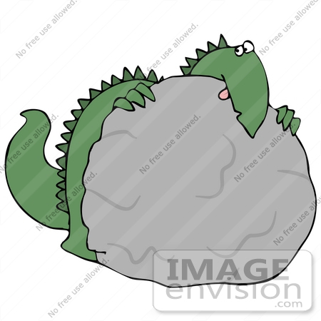 Clip Art Graphic of a Scared Green Dinosaur Crouching Behind A.