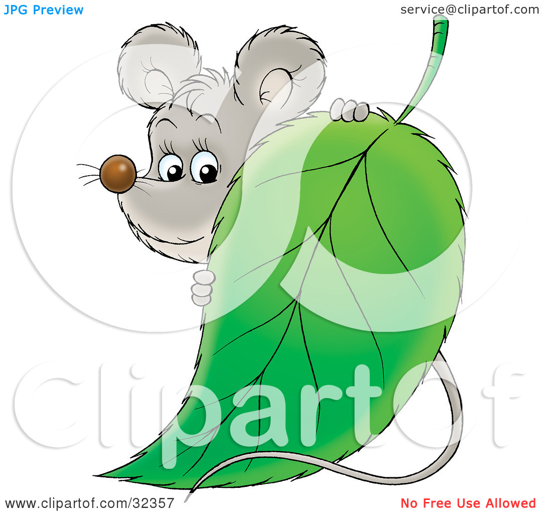 Clipart Illustration of a Cute Gray Mouse Standing Behind A Green.