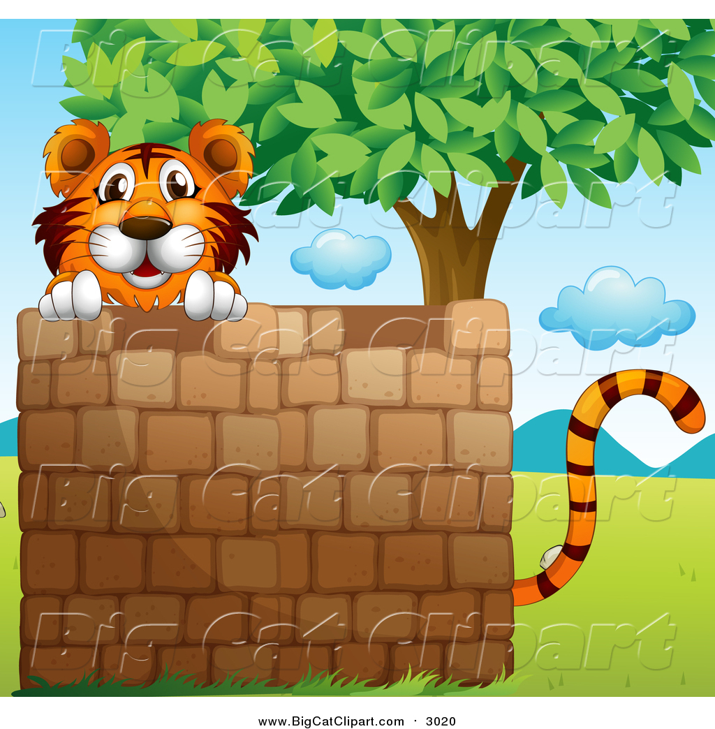 Big Cat Cartoon Vector Clipart of a Tiger Behind a Brick Wall near.