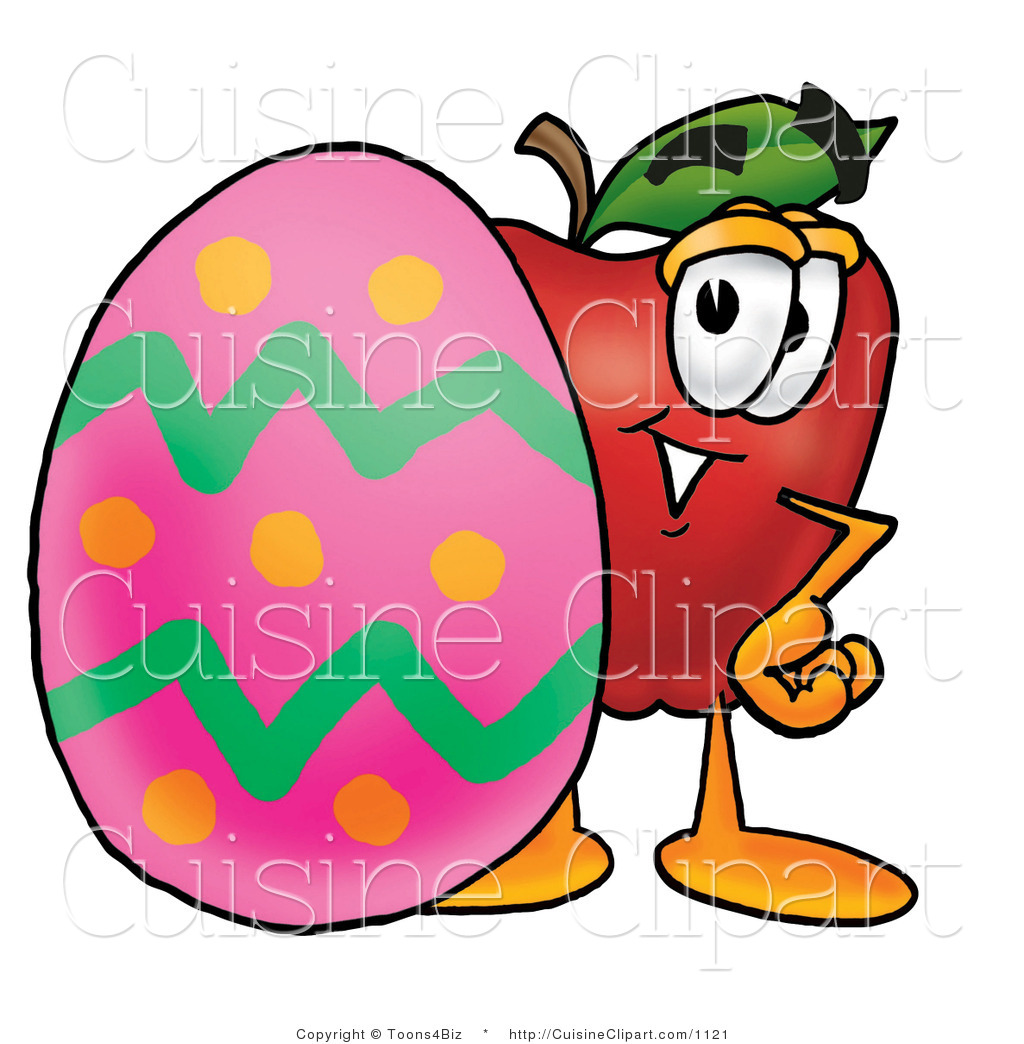 Cuisine Clipart of a Red Apple Character Mascot Standing Behind an.
