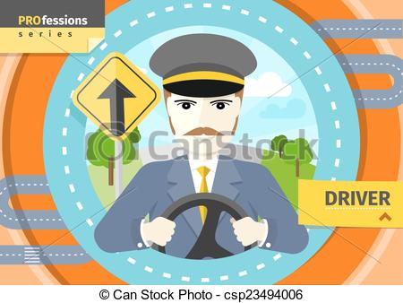Vector Clipart of Male driver in uniform and cap behind the wheel.