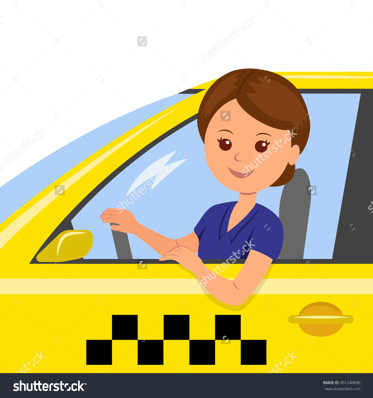 Girl Behind Wheel Taxi Driver Concept Stock Vector 401240890.