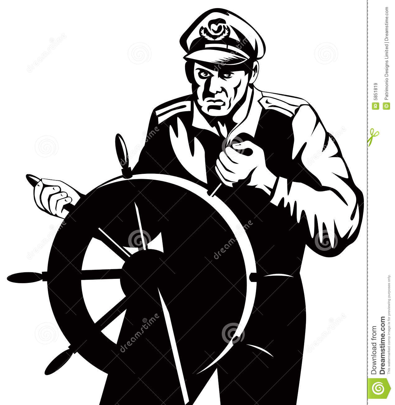 Captain Behind The Wheel Royalty Free Stock Images.