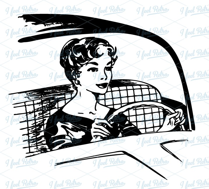 Retro Clipart: Woman behind the wheel.