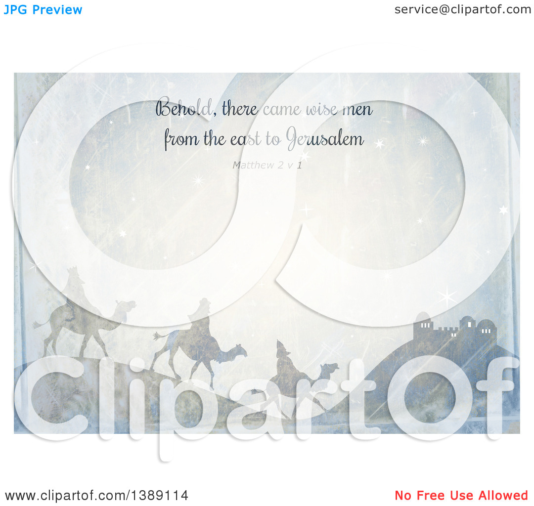 Clipart of a Distressed Christmas Background of Behold There Came.