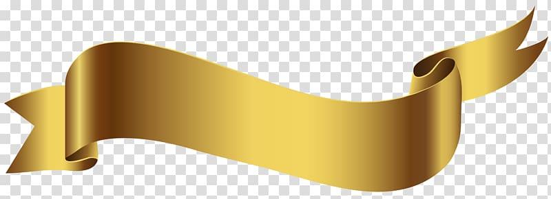 Beige ribbon, Banner , Gold Banner transparent background.