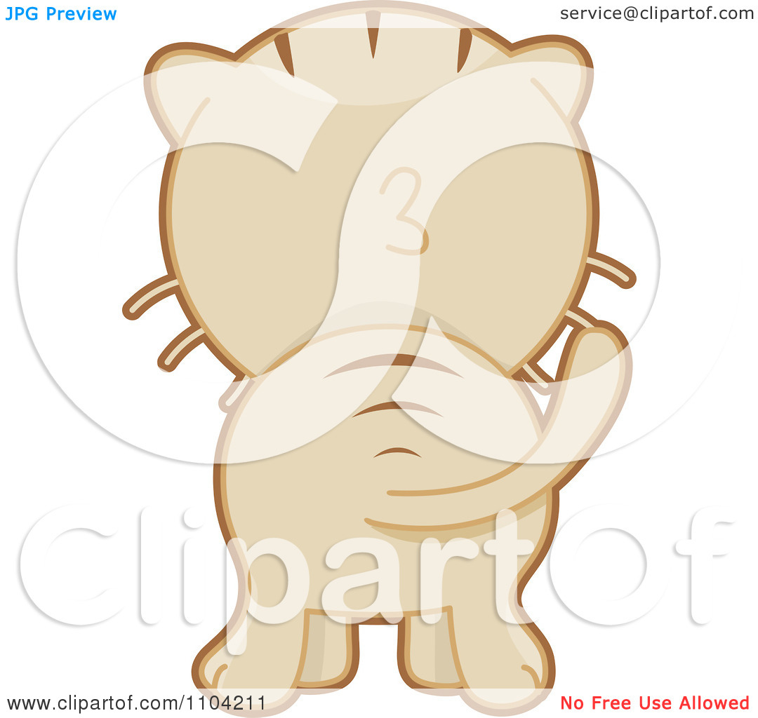 Clipart Hind View Of A Beige Cat.