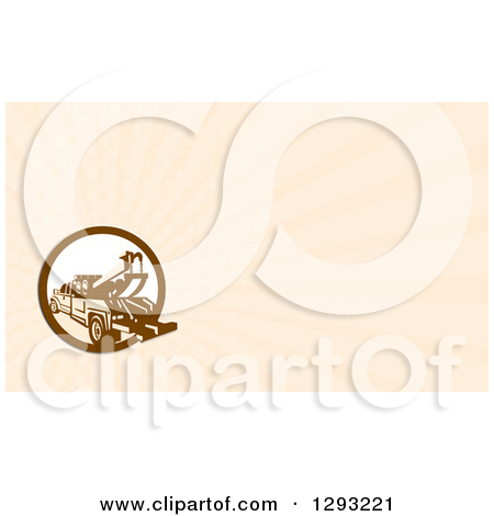 Clipart of a Retro Tow Truck and Beige Rays Background or Business.