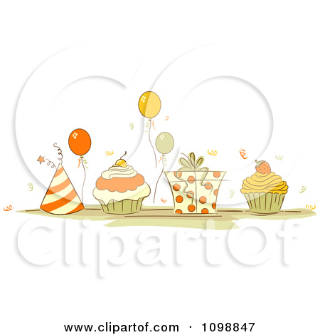 Clipart Orange And Beige Party Hats Balloons Cupcakes And A Gift.
