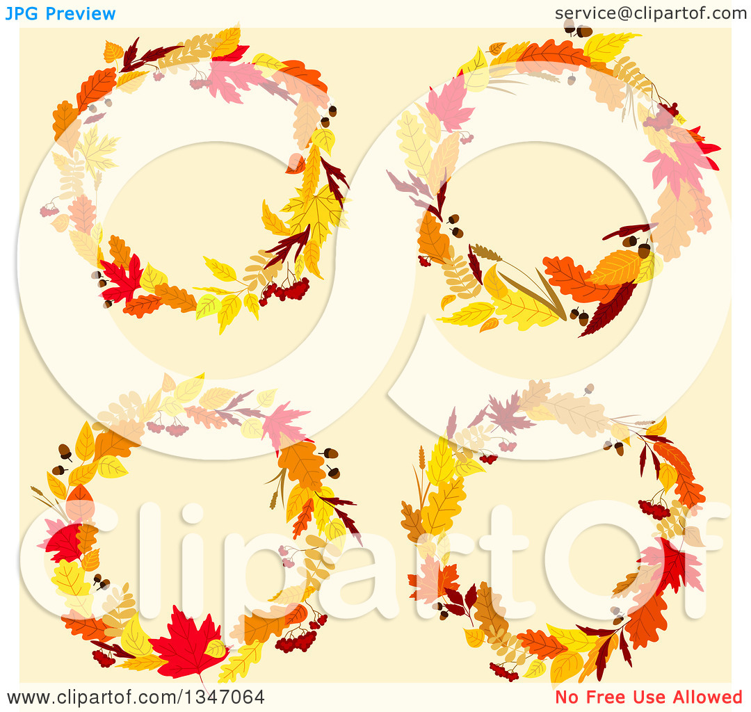 Clipart of Colorful Autumn Leaf Wreaths over Beige.