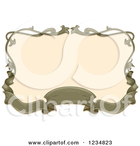 Clipart of a Vintage Green Ribbon Banner and Floral Frame Around.
