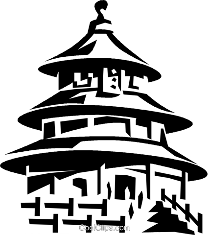 Temple of Heaven, Beijing Royalty Free Vector Clip Art.