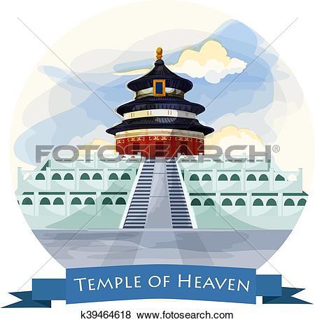 Clip Art of Temple of Heaven in Beijing. China landmark k39464618.