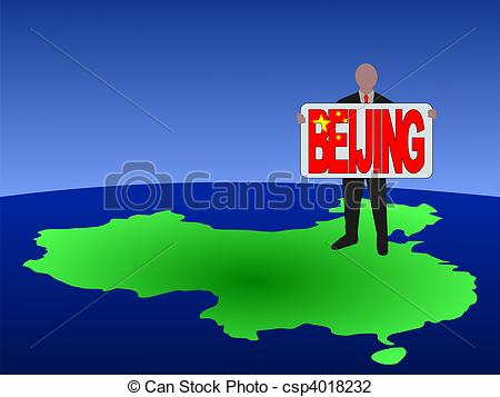 Clip Art of man on map of China with Beijing sign.