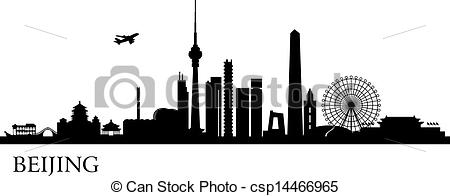 Clip Art Vector of Beijing city skyline.